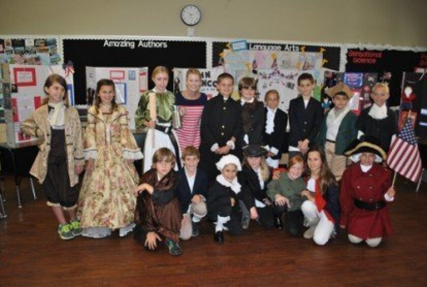 Mrs. Caster's class is in character and ready for the 4th Grade Horizon Prep Revolutionary Living History Museum. Front Row  (L-R): Chase Gianni, Ryan Gianni, Bella Raiszadeh, Carolyn Kane-Berman, Julia Clark, Inna Dunham, Lauren Flather; Back Row (L-R): Holli Horat, Madden Pearce, Maddie Giffin, M