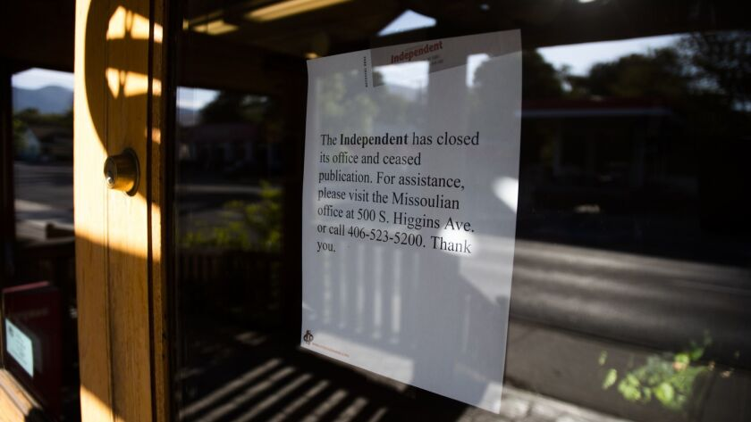The Missoula Independent closed on Tuesday, September 11, 2018, with this notice posted on their doo