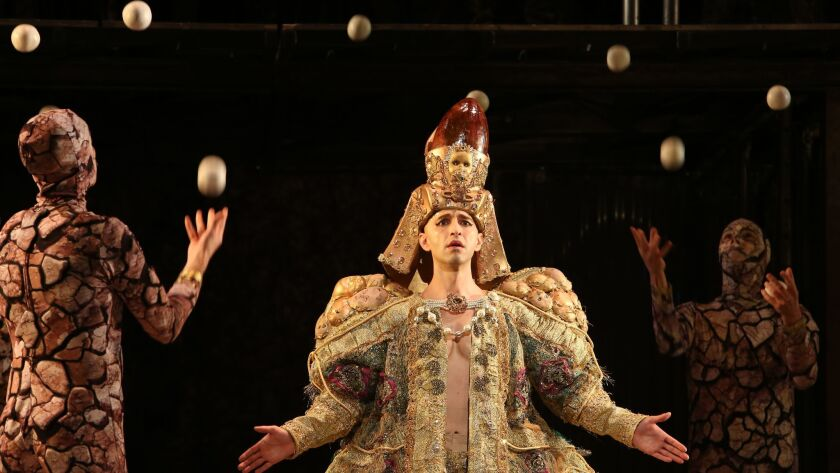 """""""Akhnaten"""" star Anthony Roth Costanzo sings with a little Gandini magic overhead."""