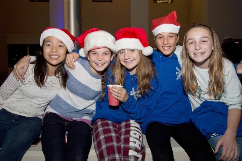 The Bishop's School eighth-graders Carly Phoon, Rachel Luxton, Sydney Crister, Christie Linnard and Margo Lyons