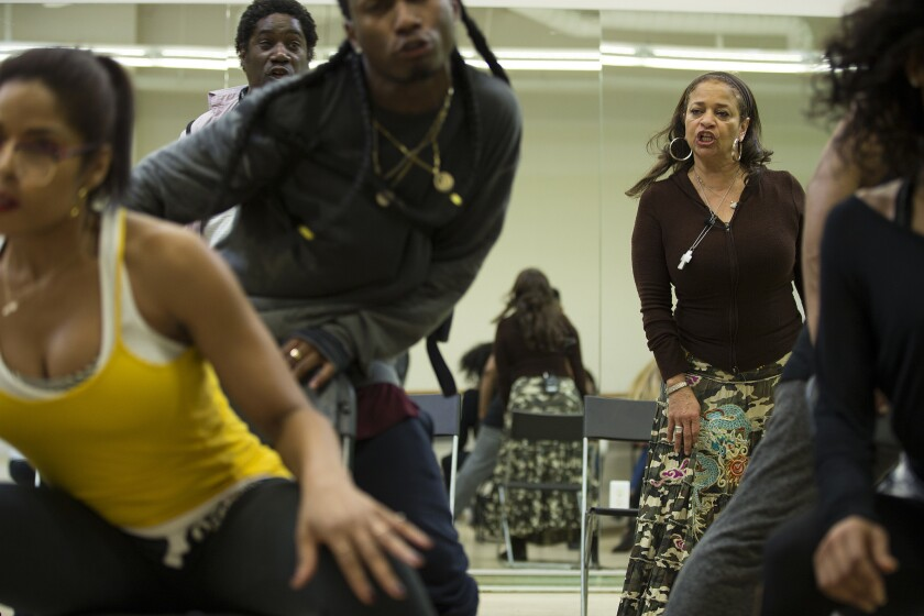 "Choreographer Debbie Allen, right, rehearses with her dancers in ""Freeze Frame"" at Debbie Allen Dance Academy on Jan. 26, 2016."
