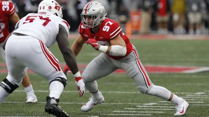 File-This Sept. 8, 2018, file photo shows Ohio State defensive lineman Nick Bosa playing against Rut