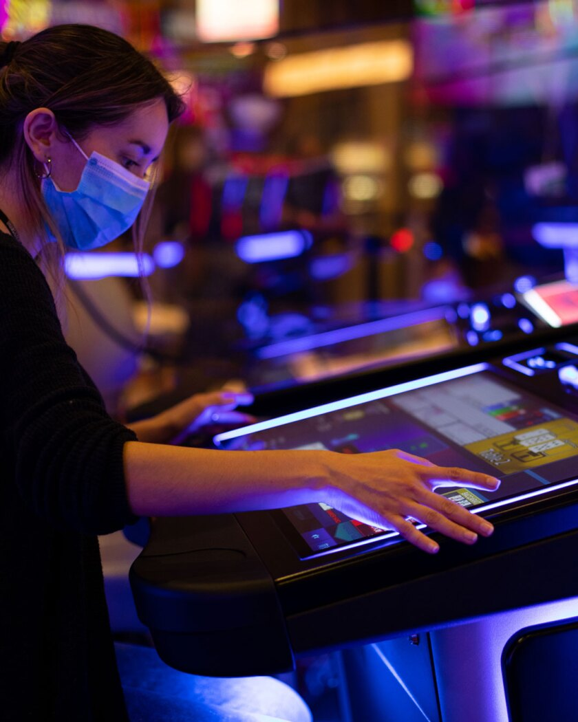 A player at an electronic game table at Sycuan Casino Resort.