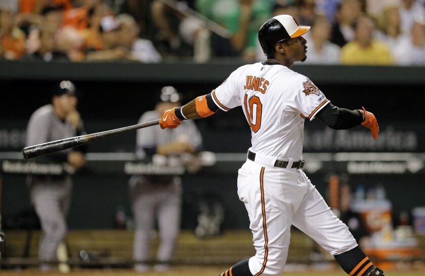 Baltimore Orioles' Adam Jones watches his three-run home run in the eighth inning of a baseball game against the New York Yankees, Wednesday, Aug. 13, 2014, in Baltimore. Baltimore won 5-3. (AP Photo/Patrick Semansky)