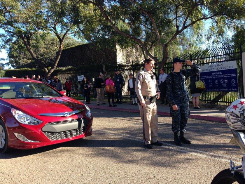 Security on west side Naval Medical Center San Diego in Balboa Park. Mandatory Photo Credit: Photo by John Gastaldo/San Diego Union-Tribune_© 2016 San Diego Union-Tribune, LLC