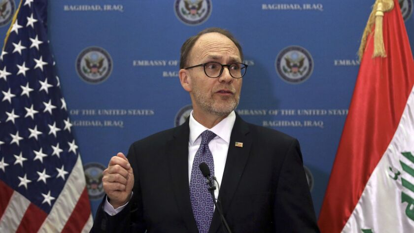 U.S. Ambassador to Iraq Douglas A. Silliman, pictured in 2016, was left scrambling to deal with the travel ban's fallout.