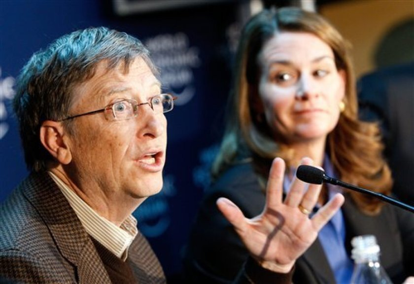 Bill and Melinda Gates face a press conference at the 40th Annual Meeting of the World Economic Forum, WEF, in Davos, Switzerland, Friday Jan. 29, 2010.