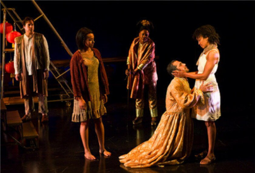 """A scene from the musical """"The Nightingale,"""" in a workshop production at the La Jolla Playhouse. The show has received criticism from Asian American actors over its casting choices."""