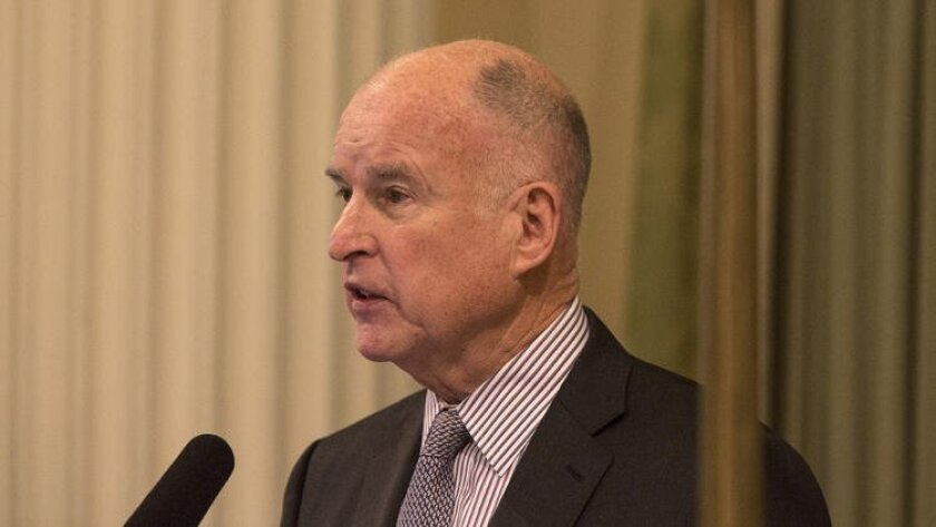Gov. Jerry Brown delivers his State of the State address before a joint session of the California Legislature in Sacramento on Thursday.