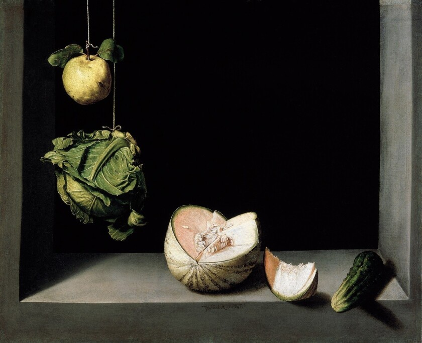 "Juan Sánchez Cotán, ""Still Life With Quince, Cabbage, Melon and Cucumber,"" circa 1602, oil on canvas"