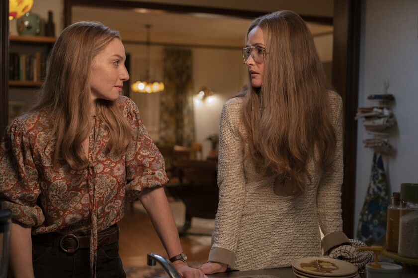 "Ari Graynor, left, as Brenda Feigen Fasteau, with Rose Byrne as Gloria Steinem in ""Mrs. America."""