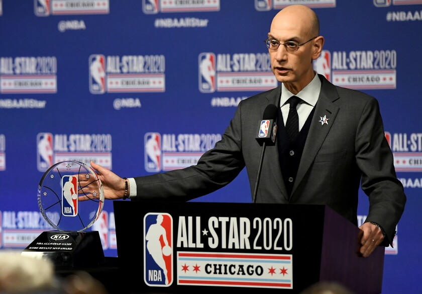 NBA Commissioner Adam Silver speaks to the media during a news conference Feb. 15, 2020, in Chicago.