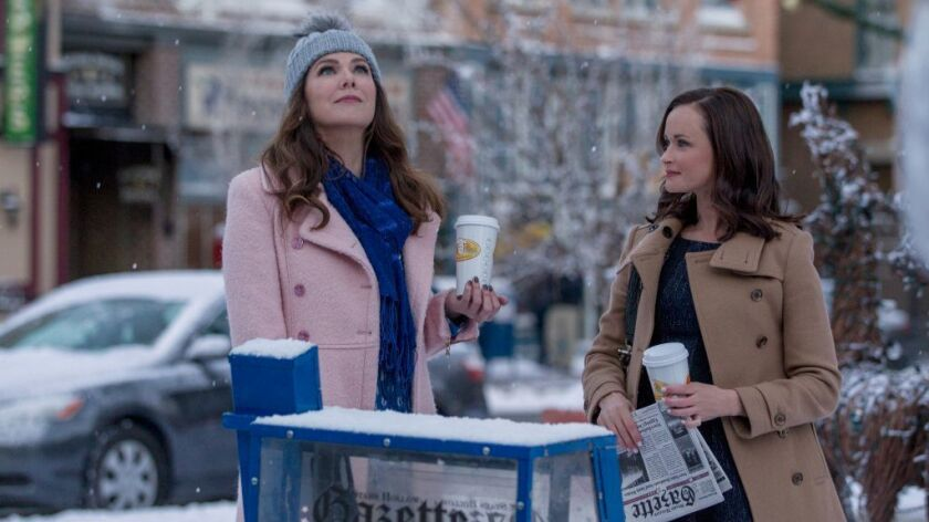 """A 'la-la'-worthy moment on """"Gilmore Girls: A Year in the Life"""": Lauren Graham as Lorelai Gilmore, left, and Alexis Bledel as Rory Gilmore."""