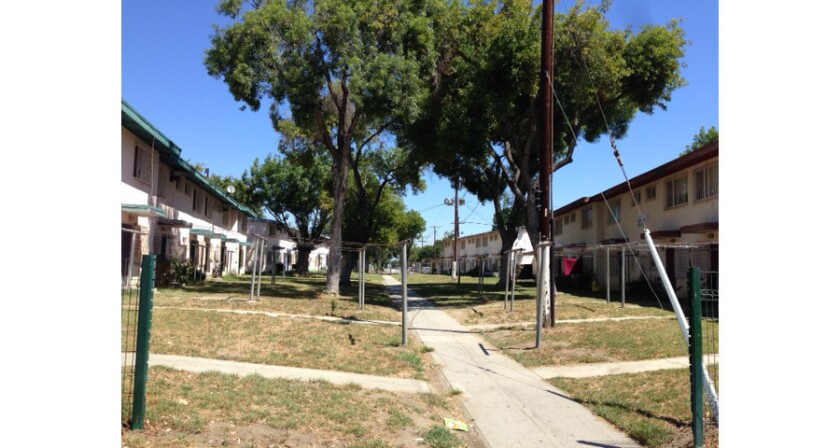 A swath of lawn inside the Jordan Downs housing development which sprawls across several city blocks of Watts.