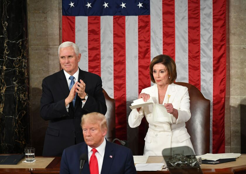 Nancy Pelosi appears to rip a copy of US President Donald Trump speech.