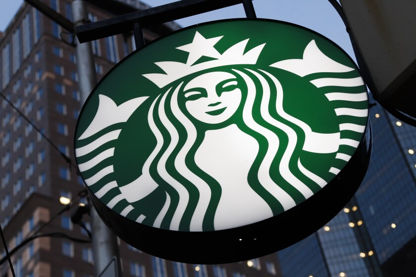 File photo shows a Starbucks sign