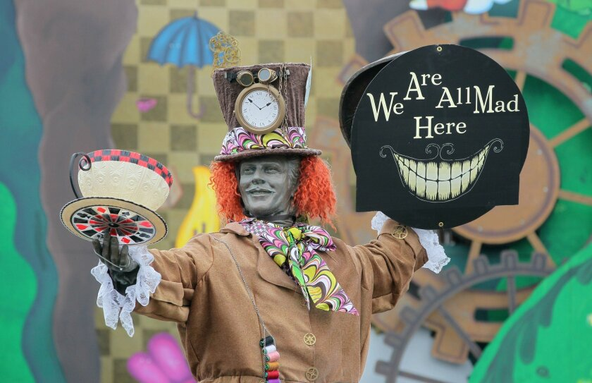 "The Don Diego statue at the main entrance to the San Diego County Fair is dressed in this year's theme, ""Mad About the Fair."""