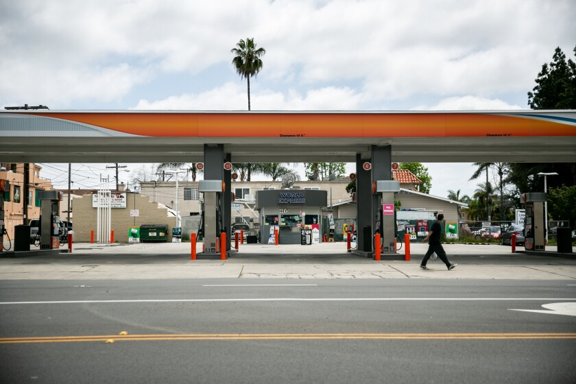 Empty gas station in San Diego
