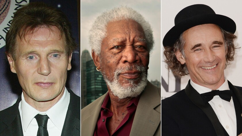 Actors Liam Neeson, left, Morgan Freeman and Mark Rylance. Who should be the next King Lear?