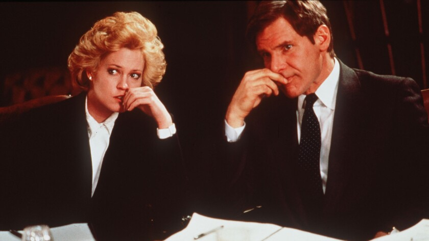 """Melanie Griffith and Harrison Ford in the 1988 movie """"Working Girl."""""""