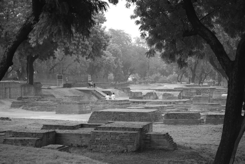 A photograph of Ruins of the Mulagandhakuti Vihara near the Dhameka Stupa, Sarnath, Uttar Pradesh, f
