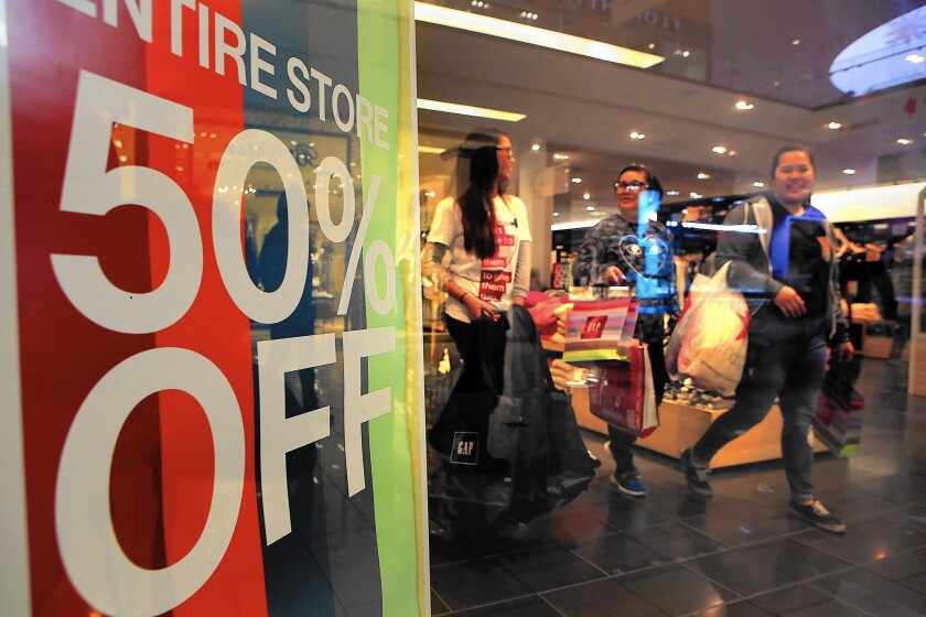 Shoppers at the Gap in the Glendale Galleria get 50% off on Black Friday. But the Saturday before Christmas, known as Super Saturday, may be an even bigger shopping day.
