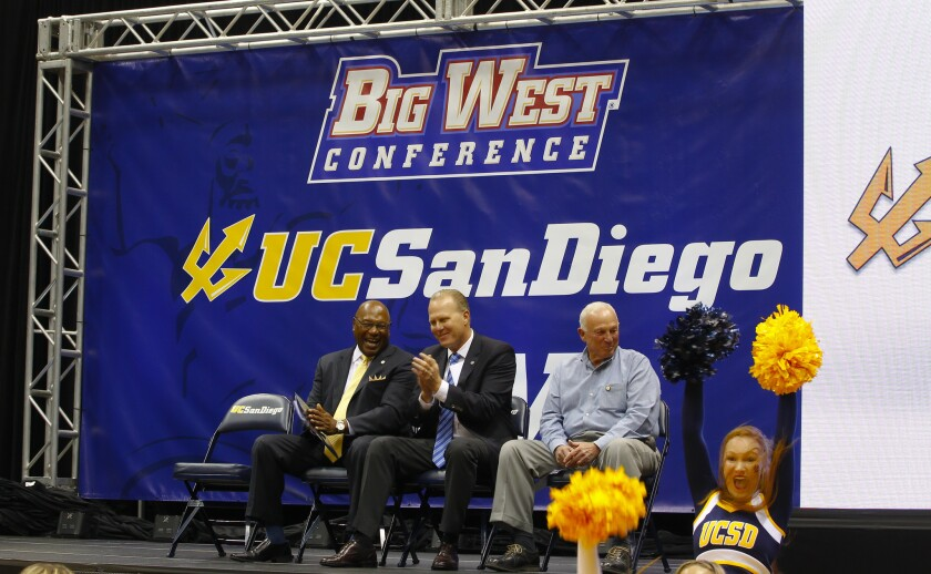 Earl Edwards, Kevin Faulconer and Jerry Sanders at the annoucement of UCSD going Div. I.