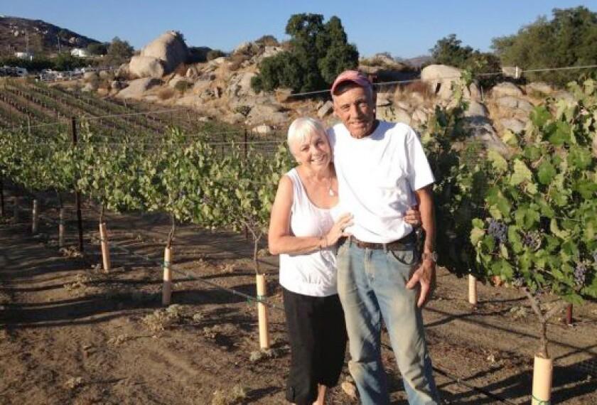 Hatfield Creek Winery Owner/Winemaker Elaine Lyttleton and her partner Vineyard Manager Norm Case in their estate vineyard.