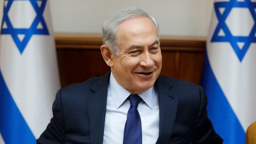 Israeli Prime Minister Benjamin Netanyahu attends the weekly cabinet meeting in Jerusalem, Sunday, July 30, 2017.