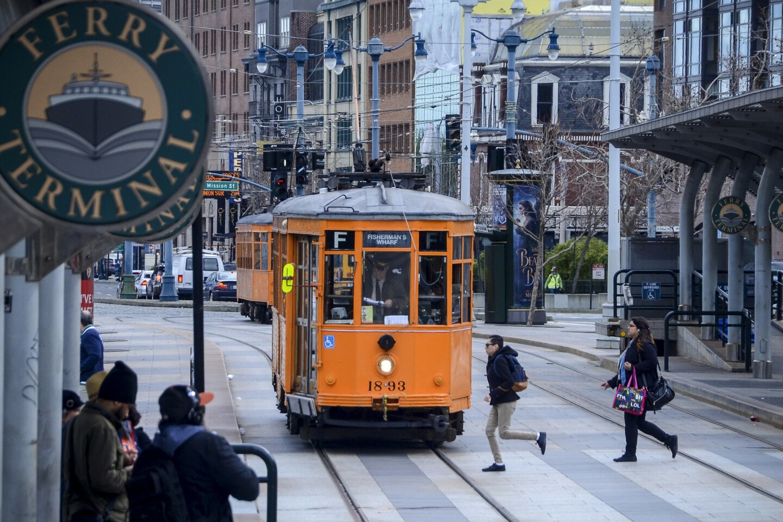 A streetcar at the Embarcadero in San Francisco.