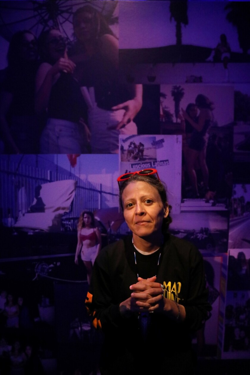EAST LOS ANGELES, CA - OCTOBER 9, 2018 - - Artist Guadalupe Rosales stands inside her exhibition tit
