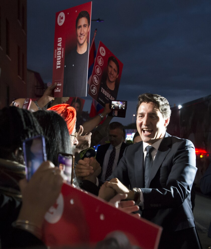 Liberal Leader Justin Trudeau arrives for the TVA French-language debate in Montreal, Wednesday, Oct. 2, 2019. (Jonathan Hayward/The Canadian Press via AP)