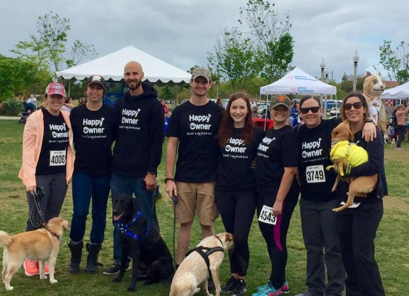 Some of the La Jolla Veterinary Hospital staff at a Walk for Animals event