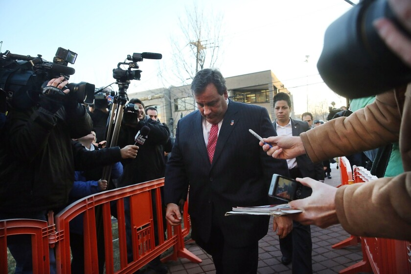 New Jersey Gov. Chris Christie enters the Borough Hall in Fort Lee, N.J., to apologize to Mayor Mark Sokolich.
