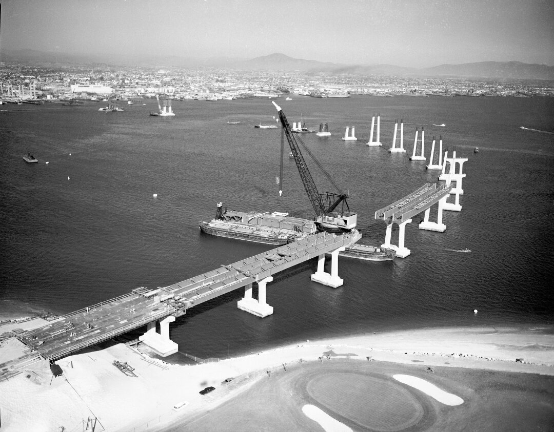 Aerial view of San Diego-Coronado Bridge during construction in August 1968.