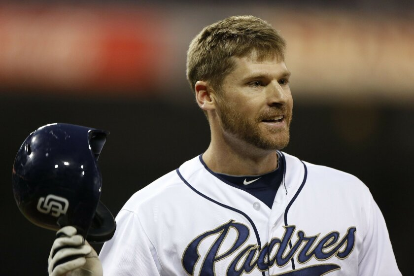 Chase Headley after striking out to end the Padre first.
