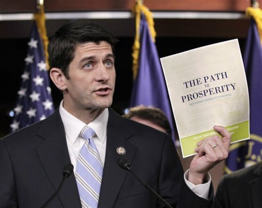 House Budget Committee Chairman Paul Ryan, R-Wis. touts his 2012 federal budget during a news conference on Capitol Hill in Washington, Tuesday, April 5, 2011. (AP Photo/J. Scott Applewhite)