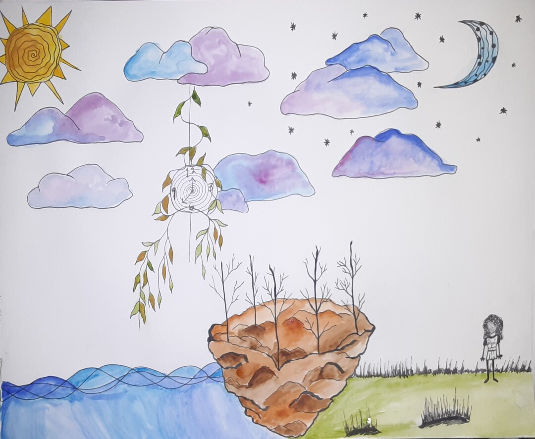 Watercolor painting of a girl in nature next to a dirt boat lined with leafless trees, under blue and purple clouds