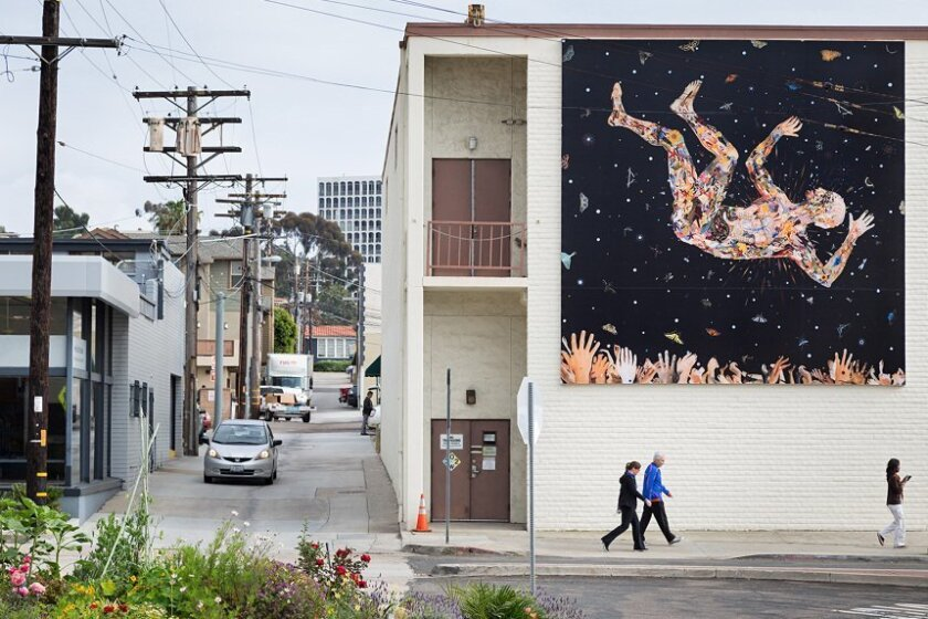 One of the Murals of La Jolla: 'Expecting to Fly (for the Zeros)' by Fred Tomaselli