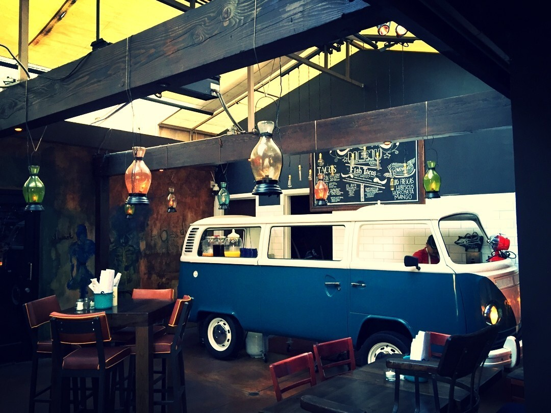 Tacos are served out of a vintage VW bus at Ceremony.