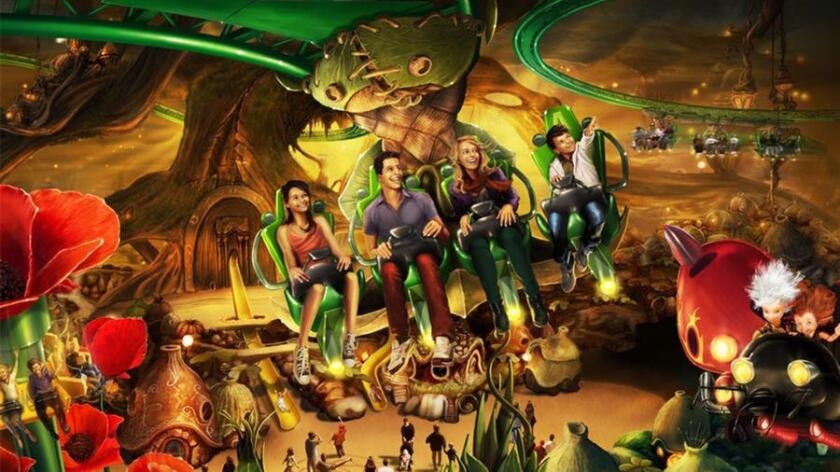 """The """"Arthur and the Invisibles"""" attraction at Germany's Europa-Park combines a suspended roller coaster with an immersive dark ride environment."""