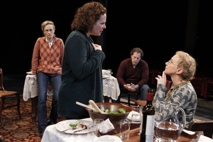 """In this undated theater publicity image released by The Public Theater, from left, Laila Robins, Maryann Plunkett, Shuler Hensley, and J. Smith-Cameron are shown in a scene from """"That Hopey Changey Thing,"""" running through Nov. 14, 2010, at The Public Theater in New York. (AP Photo/The Public Theater, Joan Marcus)"""
