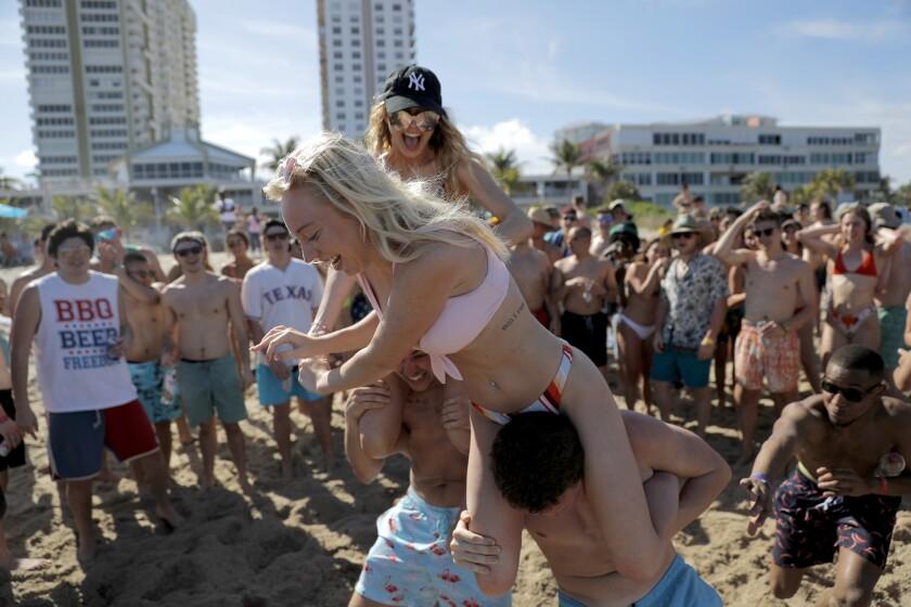 Spring break revelers in Pompano Beach, Fla.