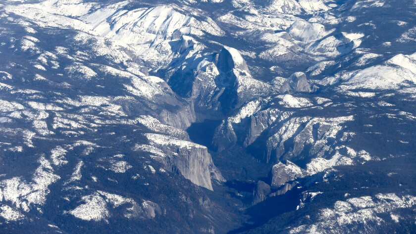 An aerial view of snowpack in the Sierra Nevada and Yosemite National Park in January.