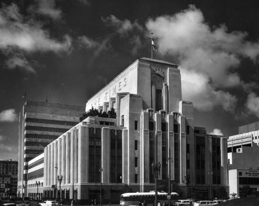 March 25, 1960: Los Angeles Times building at the corner of First and Spring in downtown Los Angele