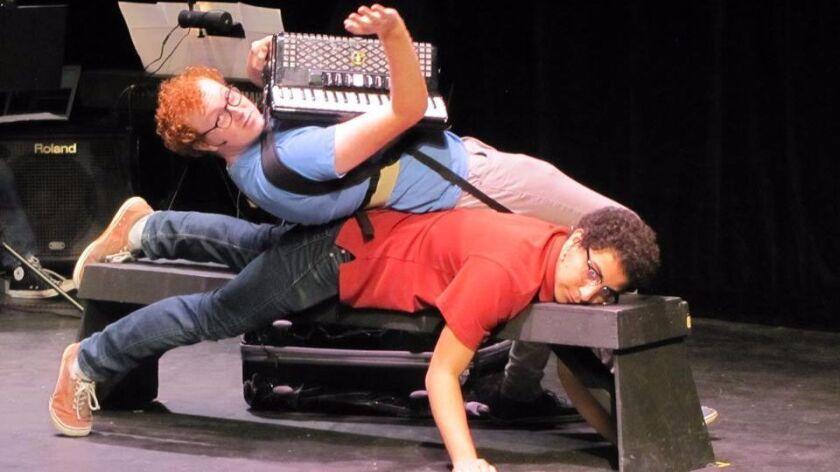 "Ian Laughbaum, top, as Jared and Kion Heidari, bottom, as Ben in Ellipsoid Players' ""The Banza."""