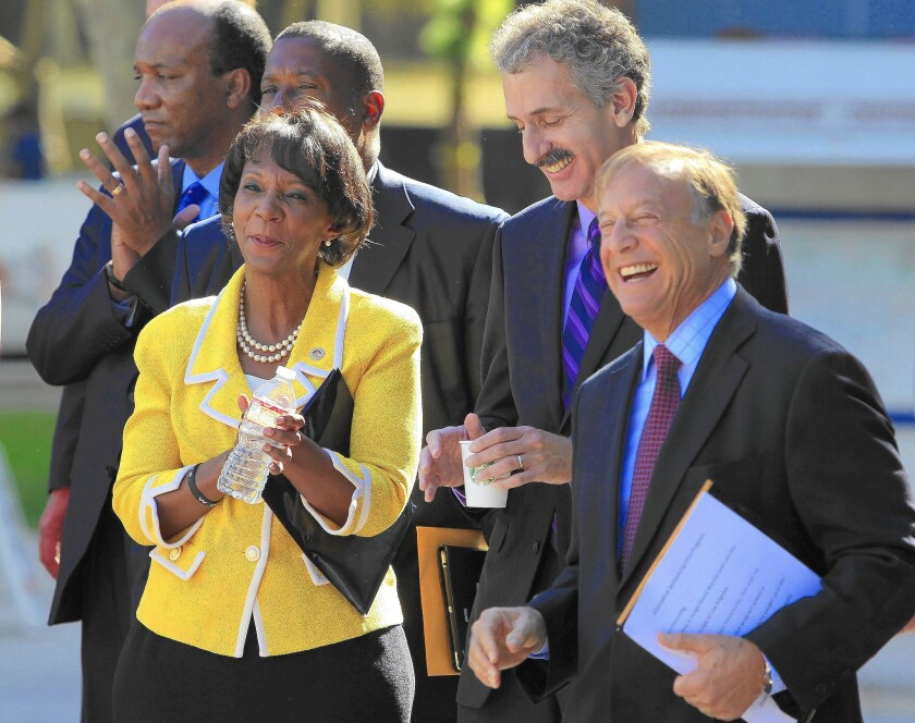 Dist. Atty. Jackie Lacey, City Atty. Mike Feuer and L.A. County Superior Court Presiding Judge David Wesley, right, at a news conference on the pilot mental health diversion program, which they support.