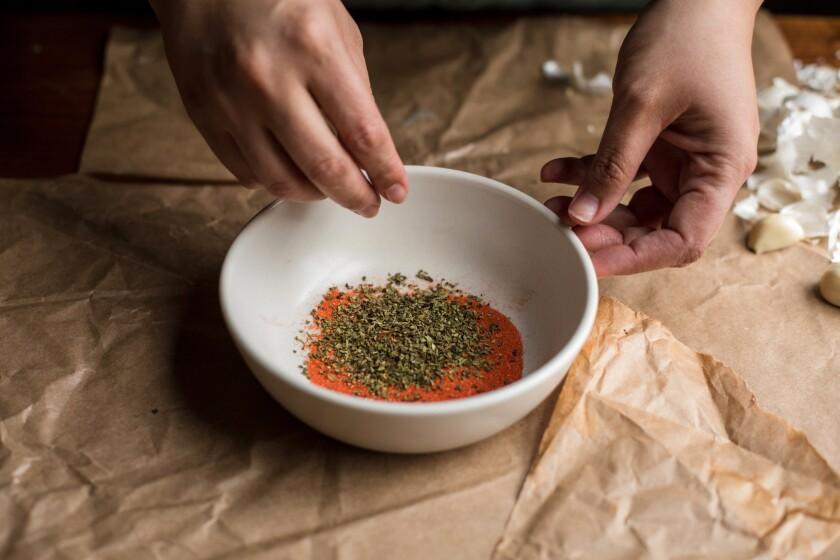 Pernil seasoning: dried oregano and Goya Sazon Culantro y Achiote