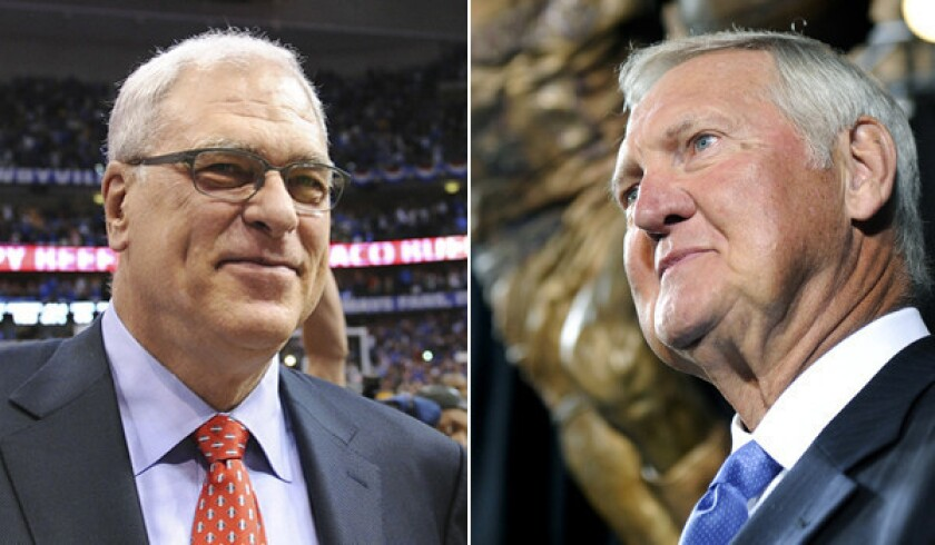 Former Lakers coach Phil Jackson, left, one time told Lakers great Jerry West to leave the locker room.