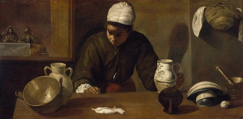 "Diego Velazquez's ""Kitchen Maid With the Supper at Emmaus,"" 1619-20, oil on canvas, at the San Diego Museum of Art."